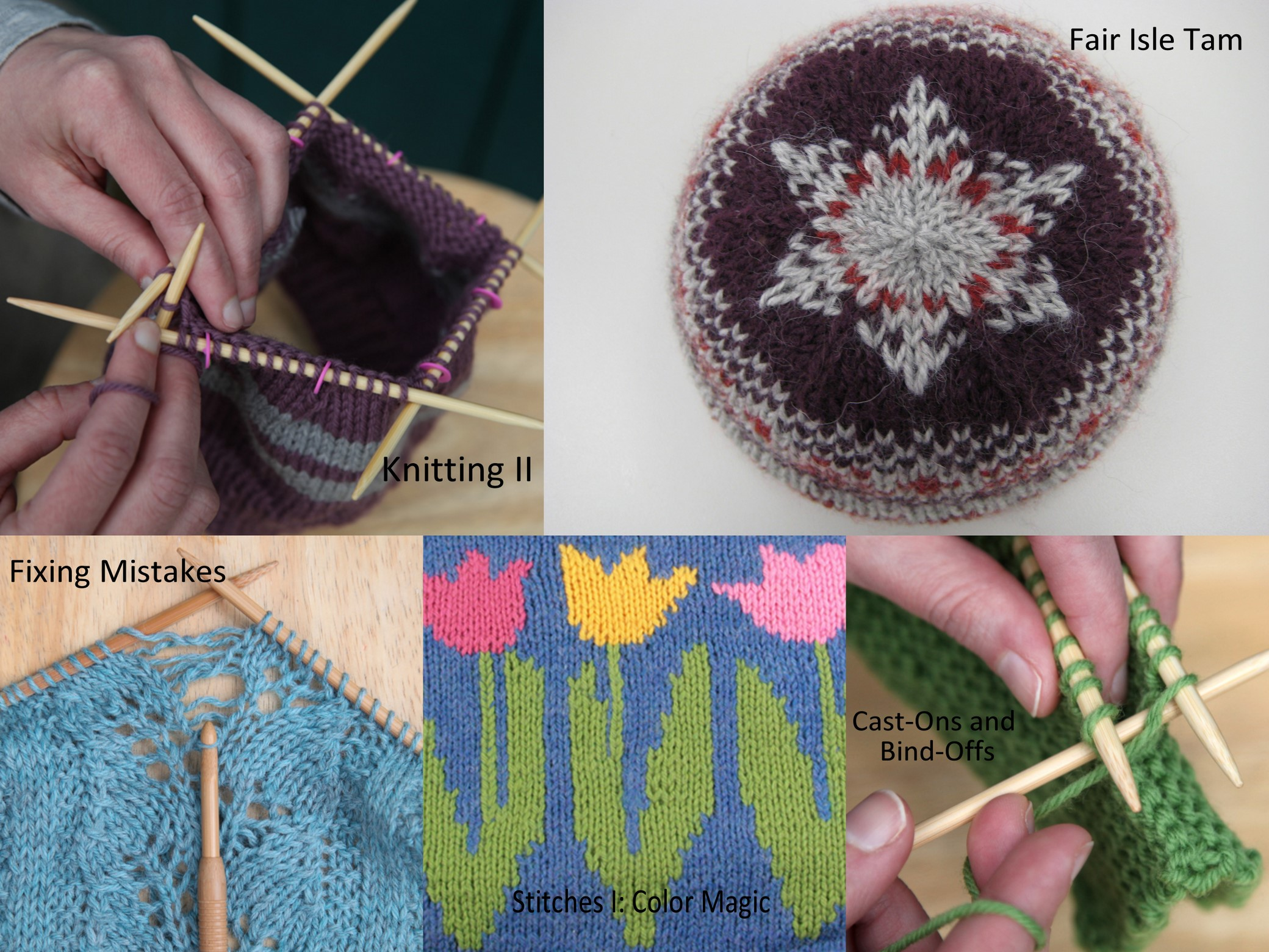 Some of the Expert Knitter Certification Classes