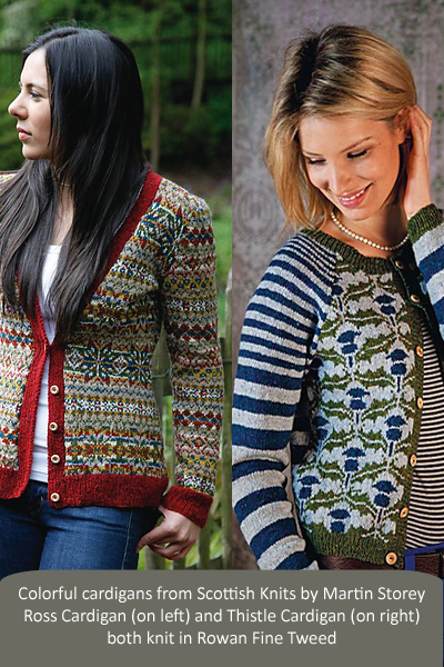 2 colorful cardigans from Scottish Knits