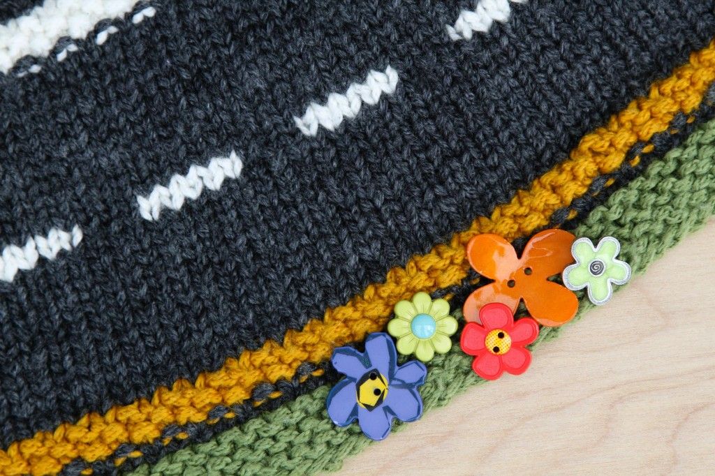 Add flower buttons to your cowl