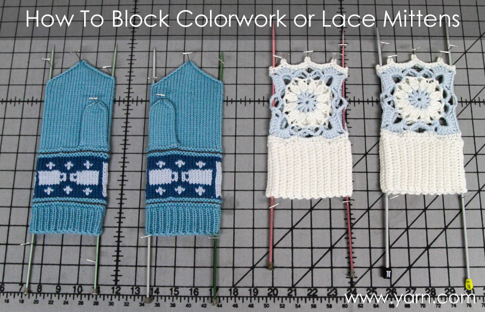 How to Block Colorwork or Lace Mittens