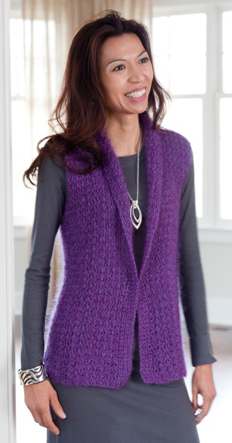 Shawled Collar Tunic, made with a large hook and mohair blend yarn