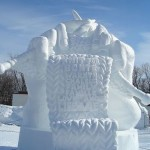"This snow sculpture entitled ""Knitting Family Poems"" was created for the 2007 Ottawa Winterlude National Snow Sculpture Competition by the Alberta team of Brian McArthur, Dawn Detarando and Will Truchon (it received the People's Choice Award)."