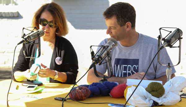 Kathy & Steve Elkins recording Ready, Set, Knit live at the WEBS Tent Sale