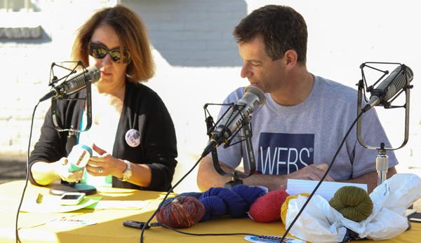Kathy & Steve Elkins recording Ready, Set, Knit live at the WEBS Tent Sale