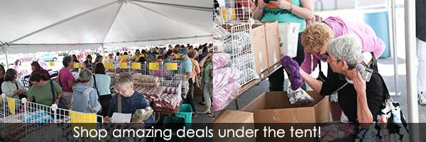 Shop under the tent at WEBS Tent Sale