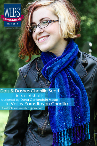 Dots & Dashes Chenille Scarf in Valley Yarns Rayon Chenille - available exclusively at yarn.com