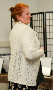 Linda invented her own cable stitch for this lacy cabled sweater!