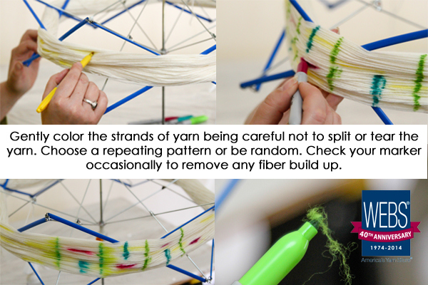Dyeing Yarn with Sharpies on the WEBS blog
