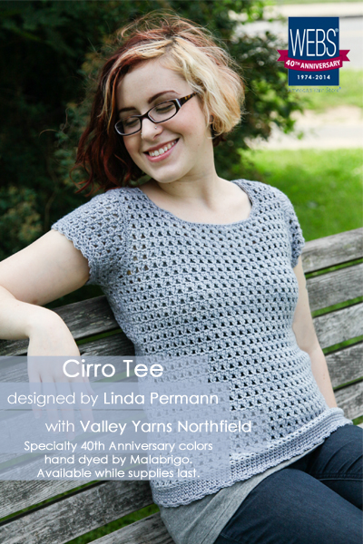 The Cirro Tee designed by Linda Permann and crocheted in Valley Yarns Northfield hand dyed by Malabrigo - available exclusively at yarn.com