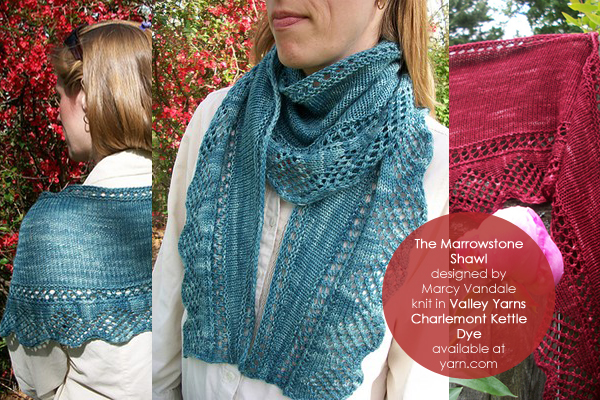 The Marrowstone Shawl from Steppingstone Fiber Creations, knit in Valley Yarns Charlemont Kettle Dye - available at yarn.com