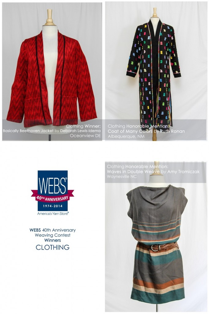 WEBS 40th Anniversary Weaving Contest, winners in the Clothing category.