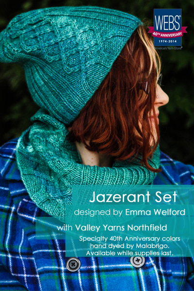 The Jazerant set designed by Emma Welford, knit in Valley Yarns Northfield hand dyed by Malabrigo - available exclusively at yarn.com