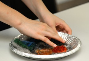 roving, water, and dish soap creates felt...