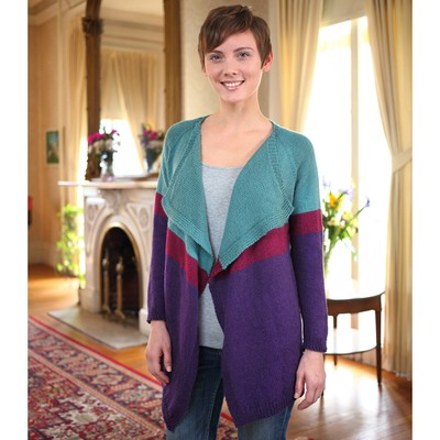 The Colorfall Cardigan designed by Kirsten Hipsky and knit in Valley Yarns Charlemont - available exclusively at yarn.com