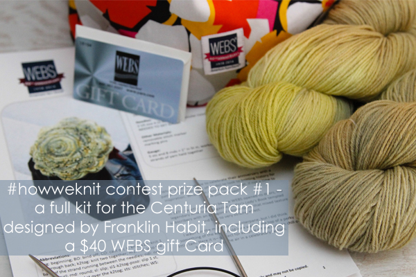 #howweknit Instagram contest prize pack, a full kit for the Centuria Tam designed by Franklin Habit - available exclusively at yarn.com