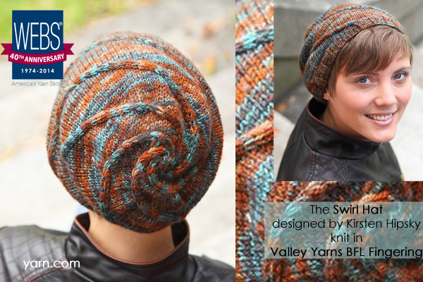 The Swirl Hat knit in Valley Yarns BFL Fingering - available exclusively at yarn.com