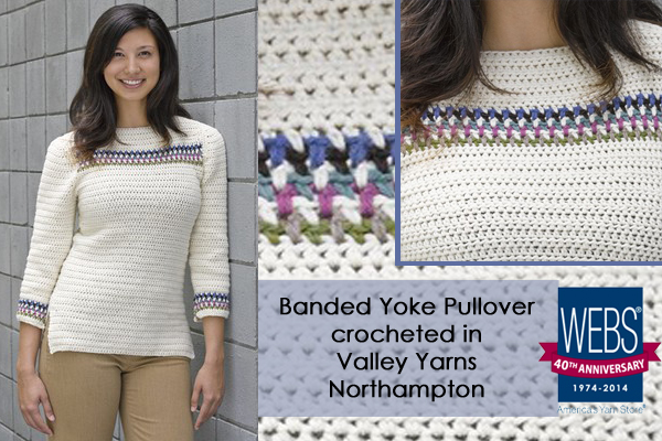 Banded Yoke Pullover crocheted in Valley Yarns Northampton - available exclusively at yarn.com