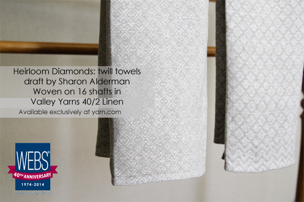 Heirloom Diamonds: twill towels draft by Sharon Alderman woven in Valley Yarns 40/2 Linen on 16-shafts - available exclusively at yarn.com