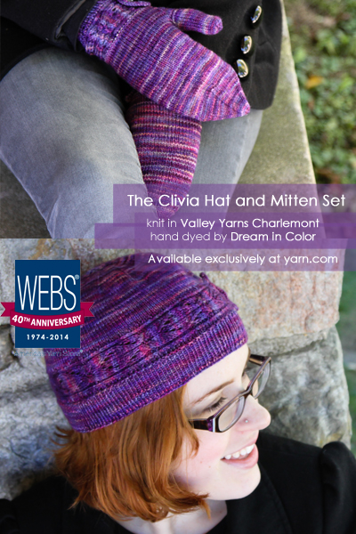 Clivia Hat and Mittens set knit in Valley Yarns Charlemont hand dyed by Dream in color - available exclusively at yarn.com