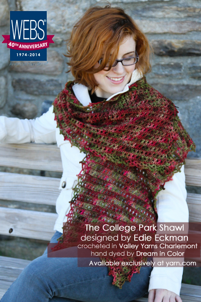 The College Park Shawl pattern designed by Edie Eckman and crocheted in Valley Yarns 40th Anniversary Charlemont hand dyed by Dream in Color - available exclusively at yarn.com