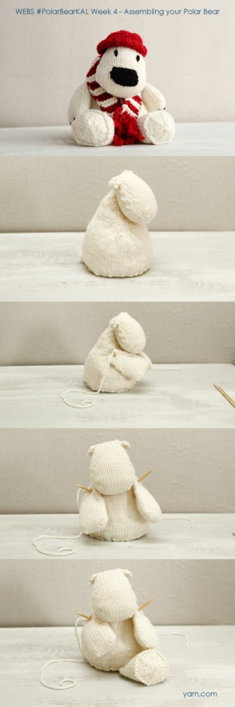 #PolarBearKAL Week 4 - assembling the bear. Join in the KAL at yarn.com