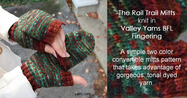 The Rail Trail Mitts, knit in Valley Yarns BFL Fingering hand dyed by the Kangaroo Dyer - Available exclusively at yarn.com