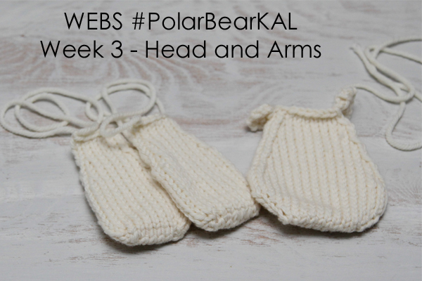 WEBS #PolarBearKAL Week3 - knitting the head and arms - visit yarn.com for more details