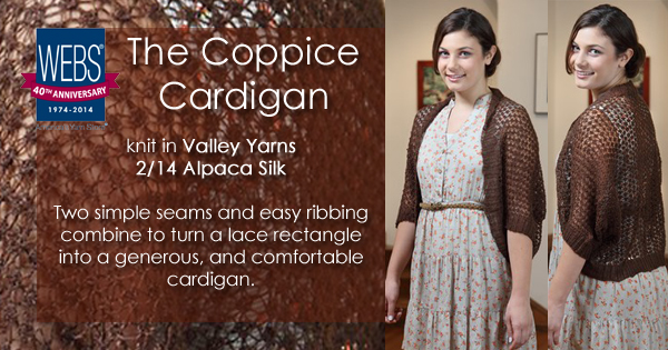 The Coppice Cardigan knit in Valley Yarns 2/14 Alpaca Silk - available at yarn.com