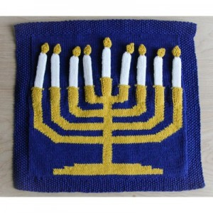 knitted menorah