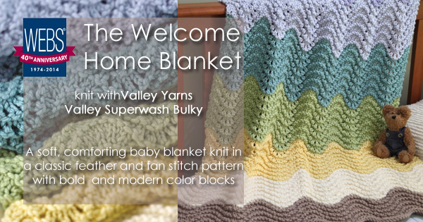 The Welcome Home Blanket pattern knit in Valley Yarns Valley Superwash Bulky - PDF download available at yarn.com