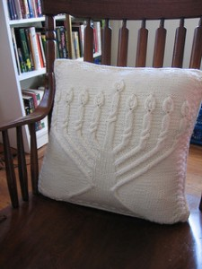creamy white menorah pillow