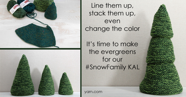 #SnowFamilyKAL Week 4 , time for the evergreens! Join the knit-along on the WEBS blog - blog.yarn.com