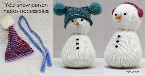 #SnowFamilyKAL Week 3 - snow person accessories. Join the knit-along on the WEBS blog - blog.yarn.com
