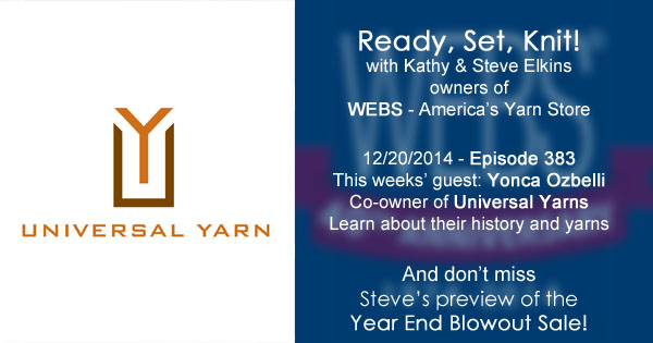 Ready, Set, Knit! ep. 383 - Kathy talks with Yonca Ozbelli, co-owner of Universal Yarns. Listen now at blog.yarn.com