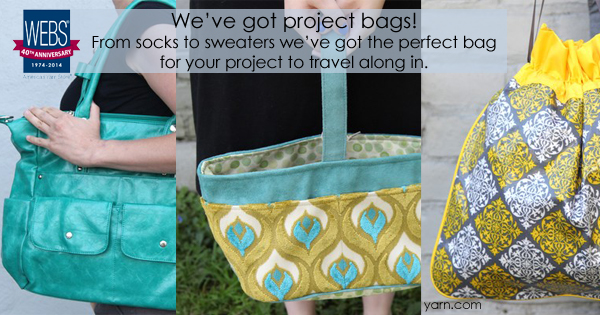 Project Bags available in all sizes and styles at yarn.com - Namaste Harlow Bag, the Attenti Caddy in peacock, and the Hadaki Multitasker Pouch
