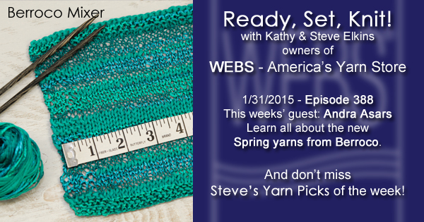 Ready, Set, Knit! ep. 388 - Kathy talks with Andra Asars about the new Spring 2015 Beroco yarns program - listen now at blog.yarn.com