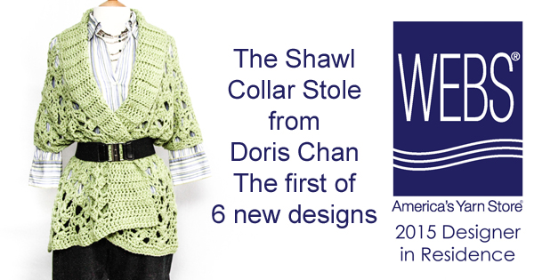 The Shawl Collar Stole from Doris Chan, one of six new designs available at yarn.com
