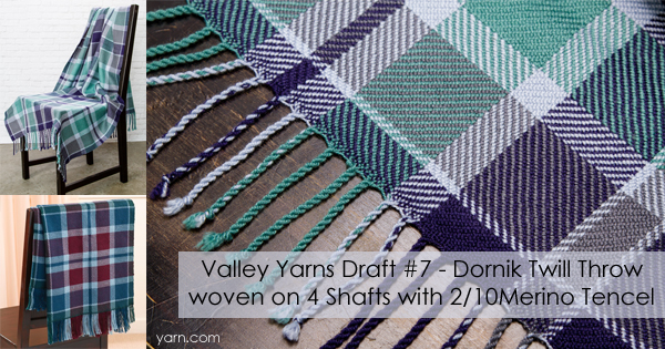 Valley Yarns Draft #7, the Dornik Twill Throw in 2/10 Merino Tencel - available for download at yarn.com