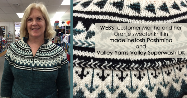 WEBS' customer Martha and the Oranje sweater she knit - read more at blog.yarn.com