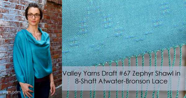 Valley Yarns Draft #67 the Zephyr Lace Shawl in 8-shaft Atwater-Bronson Lace - available for download at yarn.com