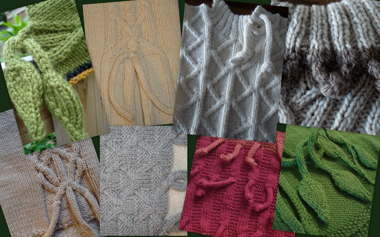 Collage of designs from Fiona Ellis featuring i-cords - read more at blog.yarn.com
