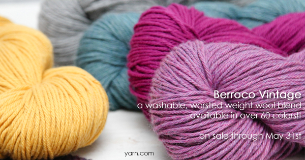 Berroco Vintage, part of the WEBS Anniversary Sale, now through May 31st at yarn.com