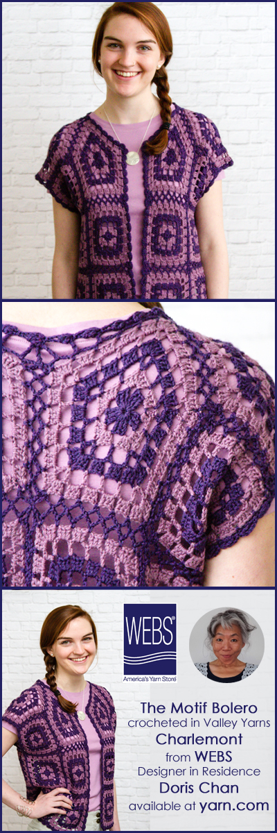 Doris Chan WEBS 2015 Crochet Designer in Residence, her second design the Motif Bolero in Valley Yarns Charlemont - learn more at blog.yarn.com