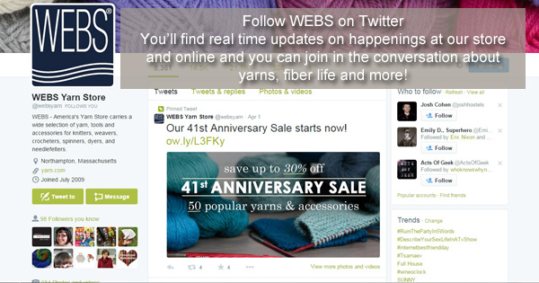 Follow @websyarn on Twitter - read more on the WEBS Blog at blog.yarn.com