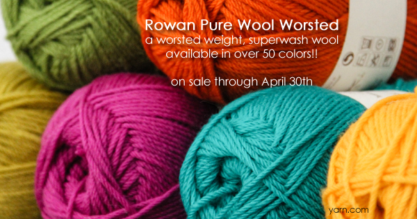 Rowan Pure Wool Worsted - part of the April sale yarns at WEBS Anniversary Sale - available at yarn.com