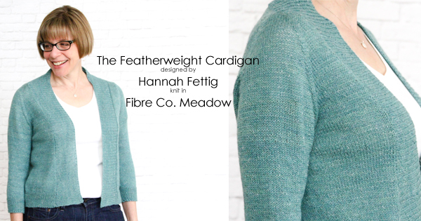 Spring and Summer knits at WEBS - Featherweight Cardigan in Fibre Co. Meadow, read more on the WEBS Blog -  blog.yarn.com