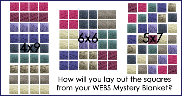 Finishing the WEBS MKAL/MCAL blankets, layout options and more on the WEBS Blog - blog.yarn.com