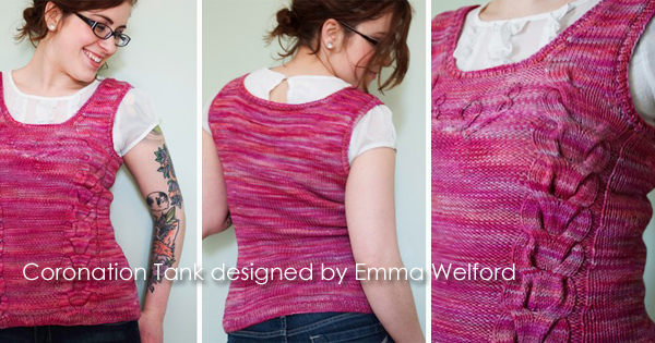 The Coronation Tank and more designs by Emma Welford on the WEBS Blog - blog.yarn.com