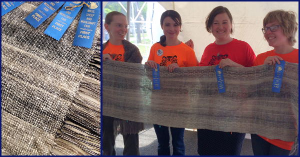 "WEBS staff members, ""Team Ply of the Tiger"" and their winning shawl, more on the WEBS Blog - blog.yarn.com"