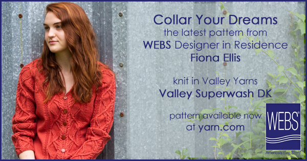 Fiona Ellis WEBS 2015 Knitwear Designer in Residence. Her third design, the Collar Your Dreams Cardigan, in Valley Yarns Valley Superwash DK - learn more at blog.yarn.com